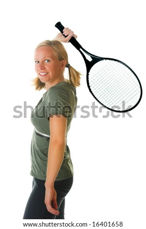 Attractive blond woman with tennis racket. Portion of photographers commission of this image will be donated to Autism Ontario.