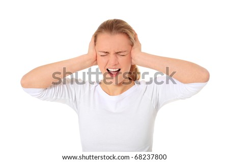 Attractive blonde woman suffering from too much noise. All on white background. - stock photo
