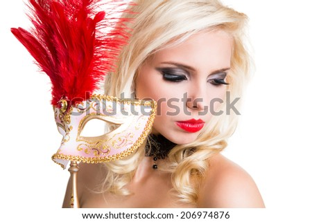 attractive blonde woman with a golden venetian mask - stock photo