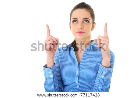 attractive brunette businesswoman points her fingers up, isolated on white - stock photo