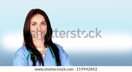 Attractive brunette doctor isolated on a over white background - stock photo