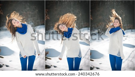 Attractive brunette girl with white sweater posing playing in winter scenery. Beautiful young woman with long hair enjoying the snow. Long legs young woman playing in wintertime outdoor - stock photo