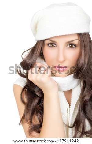 Attractive brunette in white isolated on white background - stock photo