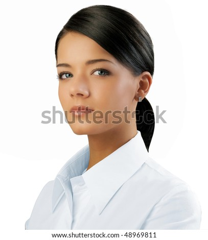 Attractive brunette isolated (outstanding business people in interiors / interfaces series) - stock photo