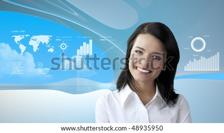 Attractive brunette on future background (outstanding business people in interiors / interfaces series) - stock photo