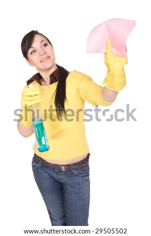 attractive brunette woman doing housework, over white background
