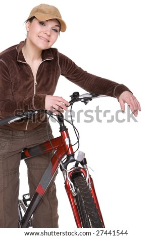 attractive brunette woman with bike. over white background - stock photo