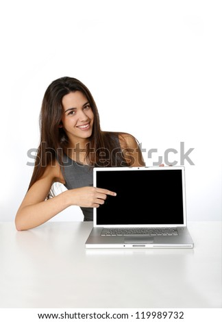 Attractive business girl showing laptop screen - stock photo
