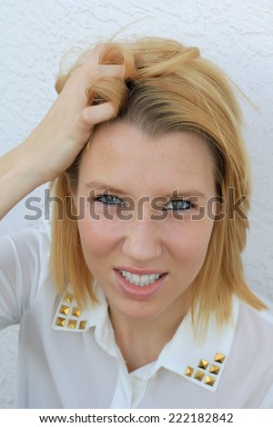 Attractive Business Professional Business Woman College Student Young Teenager Upset Grabbing Hair - stock photo