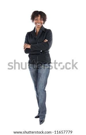 Attractive business woman a over white background - stock photo