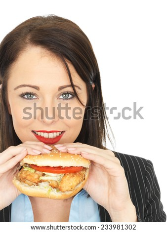 Attractive Business Woman Eating a Chicken Burger