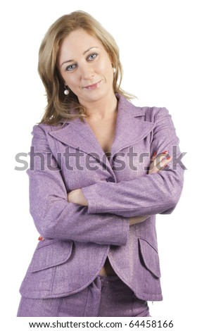 Attractive business woman in purple suit