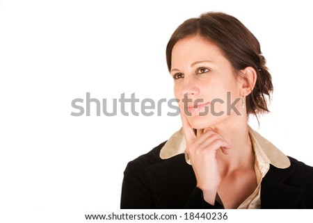 Attractive business woman in thought while looking upwards - stock photo