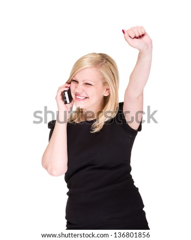 attractive business woman on the phone winning isolated on white background