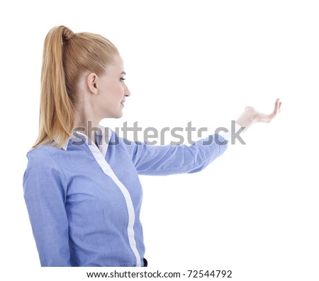 Attractive business woman presenting. Isolated over white background - stock photo