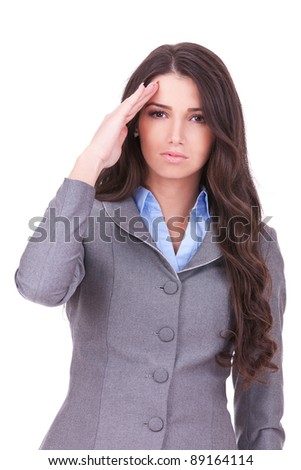 Attractive business woman saluting over white background - stock photo