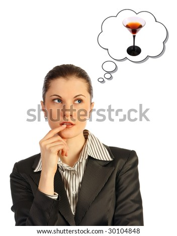 Attractive business woman thinking. Isolated on white.
