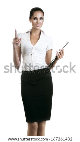 attractive business woman with folder in hand on white background - stock photo