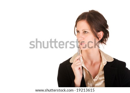 Attractive business woman wondering about something while looking upwards - stock photo