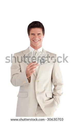 Attractive Businessman holding Dollars - stock photo