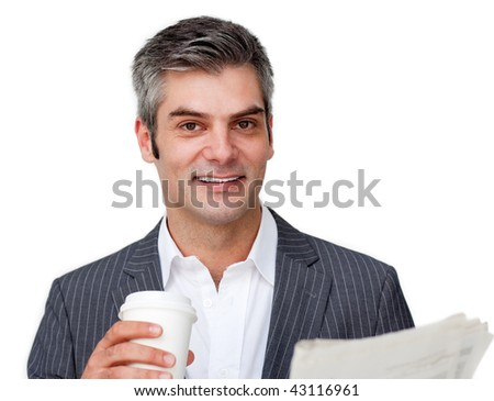 Attractive businessman reading a newspaper against a white background