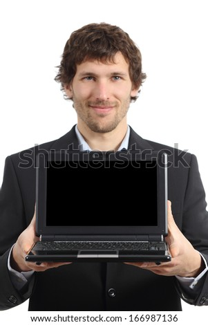 Attractive businessman showing a netbook screen app isolated on a white background              - stock photo