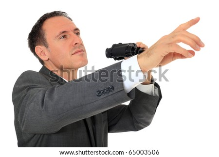 Attractive businessman using spyglass. All on white background. - stock photo