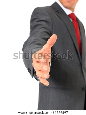 Attractive businessman welcoming someone. All on white background. - stock photo