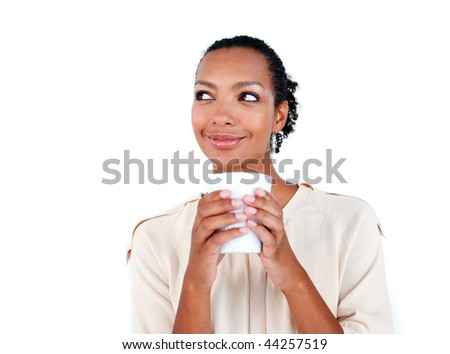 Attractive businesswoman drinking a coffee against a white background - stock photo