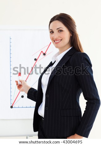 Attractive businesswoman giving a presentation in the office - stock photo