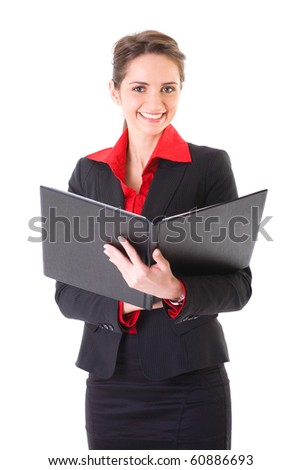 attractive businesswoman holds open folder in her hands, presentation concept, studio shoot isolated on white - stock photo