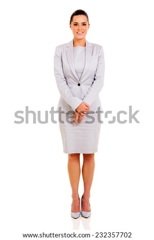 attractive businesswoman in a suit isolated on white background - stock photo