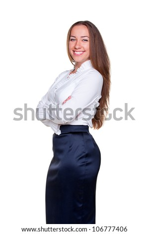 attractive businesswoman in white shirt. isolated on white background