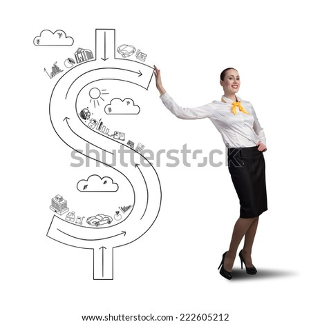 Attractive businesswoman leaning on drawn dollar sign - stock photo