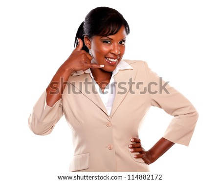 Attractive businesswoman saying call me and looking at you on isolated background - stock photo