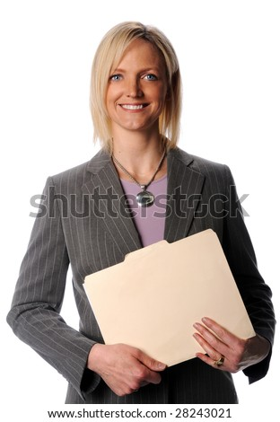 Attractive businesswoman smiling and holding a file