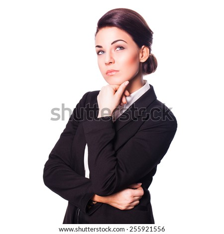 attractive businesswoman thinking about a problem - stock photo