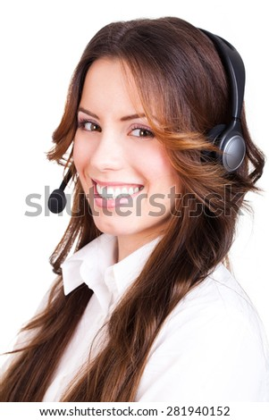 attractive businesswoman with a headset on isolated background - stock photo