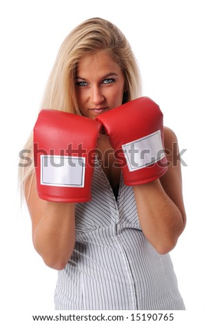 Attractive businesswoman with training gloves isolated over a white background - stock photo
