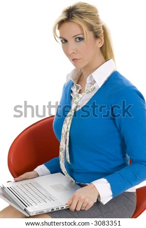 Attractive businesswoman working on notebook isolated on white - stock photo
