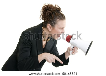 Attractive Caucasian business woman yelling into a bullhorn