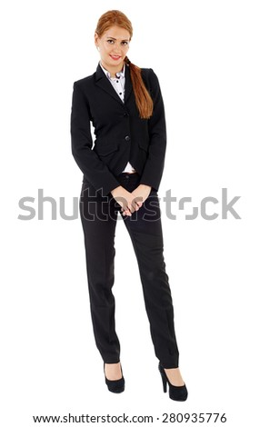Attractive caucasian businesswoman isolated on white, full length - stock photo