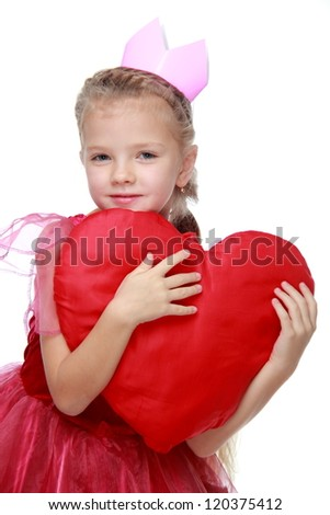 Attractive caucasian child on St.Valentine Day - stock photo