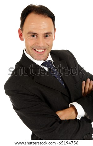 Attractive caucasian middle aged businessman with the arms crossed. Happy face. Studio shot. White background - stock photo