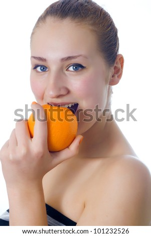 attractive caucasian woman isolated on white shot with orange