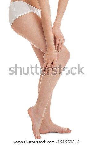 attractive caucasian woman legs isolated on white background