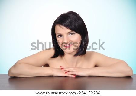 attractive caucasian woman skin care, close up - stock photo