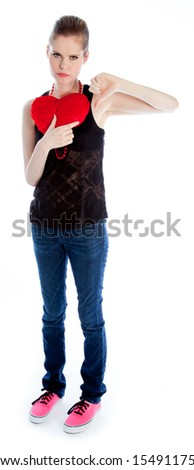 Attractive caucasian woman wearing casual clothes in her 30 isolated on a white background - stock photo