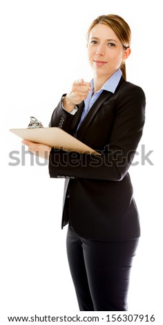 Attractive caucasion business woman in her 30s shot in studio isolated on a white background