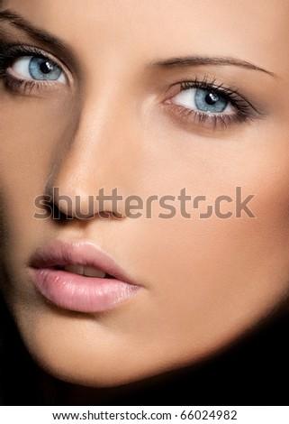 attractive closeup beauty portrait - stock photo